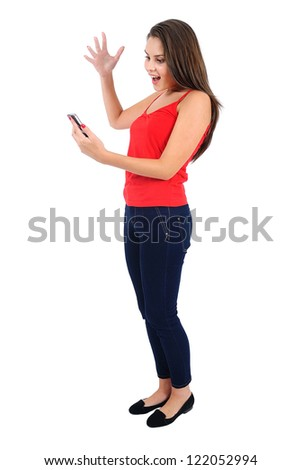 Isolated young casual girl with phone - stock photo