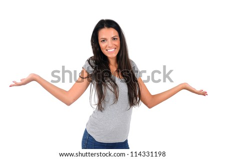 Isolated young casual woman confused - stock photo