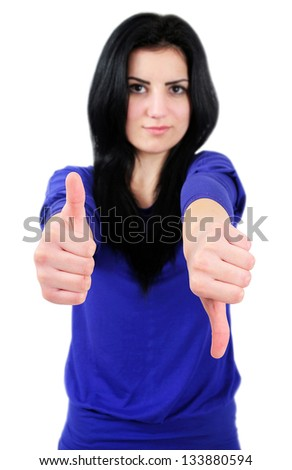 Isolated young casual woman decide - stock photo