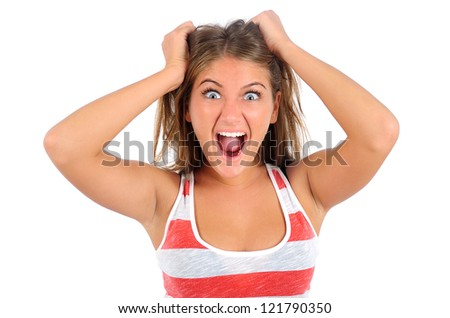 Isolated young casual woman screaming