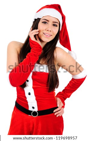 Isolated Young Christmas Girl Dreaming
