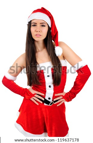 Isolated Young Christmas Girl Standing