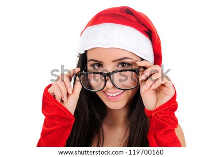 Isolated Young Christmas Girl Standing - stock photo