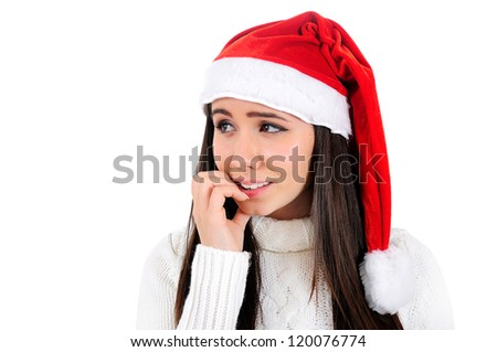 Isolated Young Christmas Girl Stressed - stock photo
