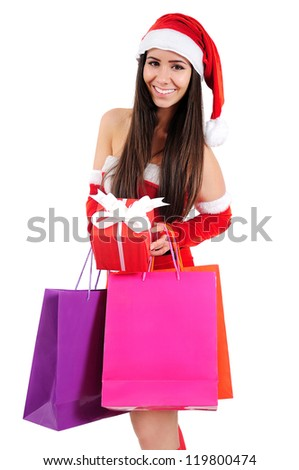Isolated Young Christmas Girl With Shopping Bag
