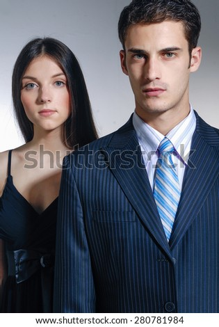 isolated young couple  - stock photo