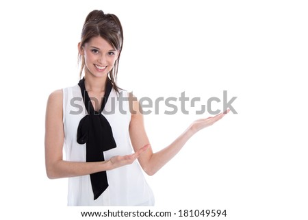 Isolated young elegant woman presenting with her hands. - stock photo