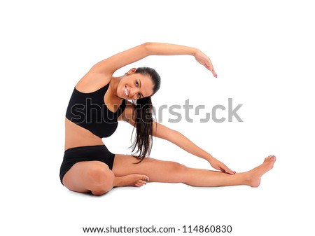 Isolated young fitness woman on white - stock photo