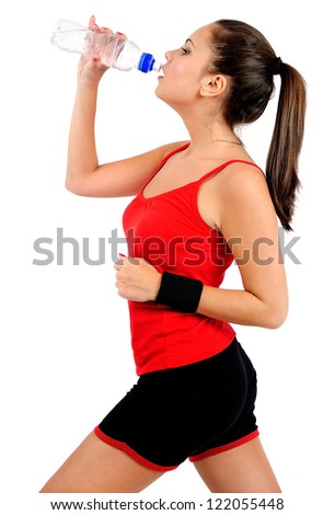 Isolated young fitness woman running - stock photo