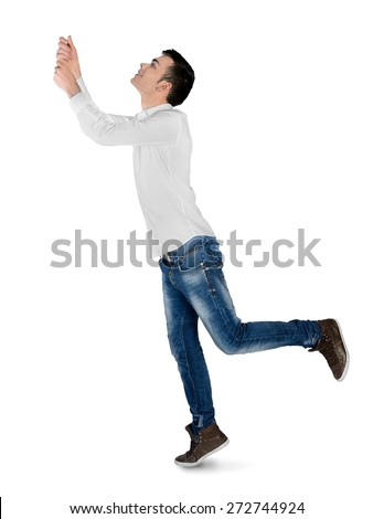 Isolated young man drag something - stock photo