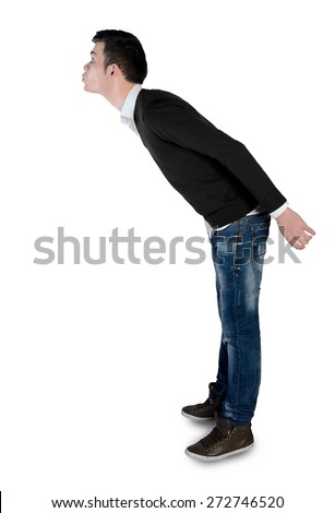 Isolated young man kiss something side - stock photo