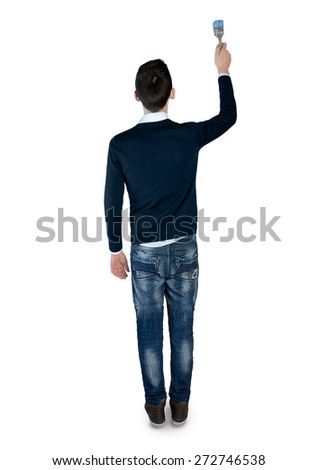 Isolated young man paint something - stock photo