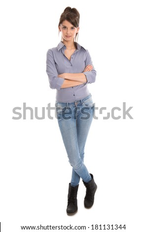 Isolated young woman in blue jeans and full body length. - stock photo
