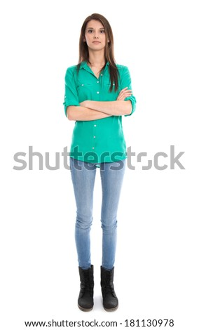 Isolated young woman in blue jeans in full length. - stock photo