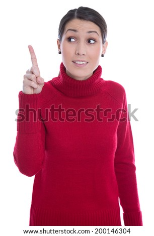 Isolated young woman in red raising up her forefinger: good idea. - stock photo