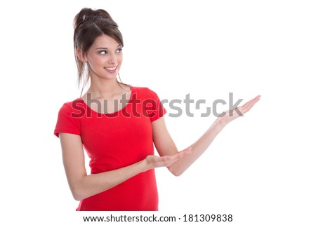 Isolated young woman presenting in a red shirt. - stock photo