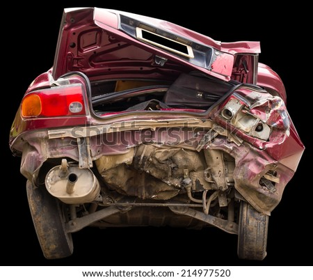 Isolates buttocks red car suffered major damage from an accident. - stock photo