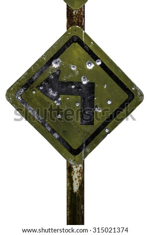 Isolates of old traffic sign on left turn. - stock photo