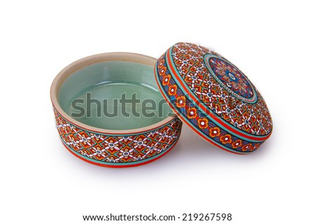 Isolation of a bowl with a Thai traditional on a white background