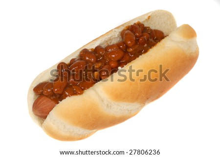Isolation of a chili hot dog with bun