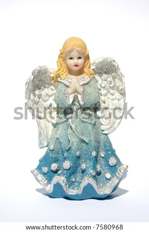 Isolation of a Christmas angel holding - stock photo