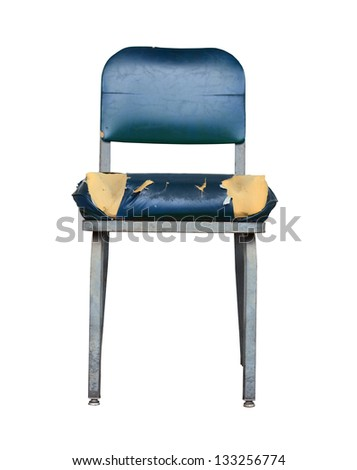 Isolation Of A Grungy Vintage Chair With Split Seat On White - stock photo