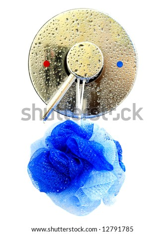 Isolation of a shower temperature control valve and hanging bath puff over a white background