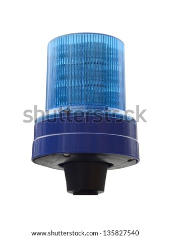 Isolation Of Blue Police Emergency Light With Clipping Path - stock photo