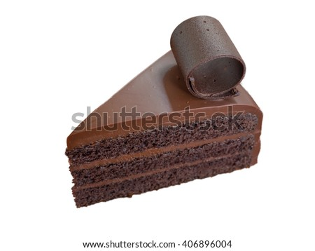 isolation of chocolate cake with two stuff