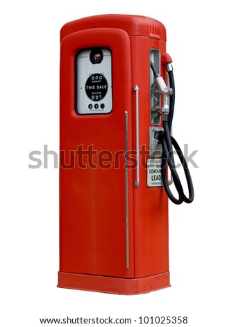 Isolation of old red petrol gasoline pump with 25c gas on dials - stock photo