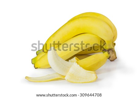 Isolation of Ripe bananas with pen tool path in file.
