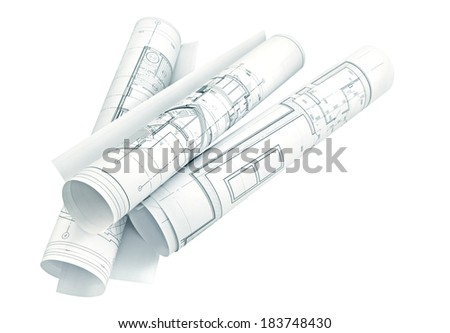 Isolation of several drawings for the project engineer jobs/Project drawings    - stock photo