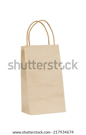 isolation on white of brown paper shopping bag