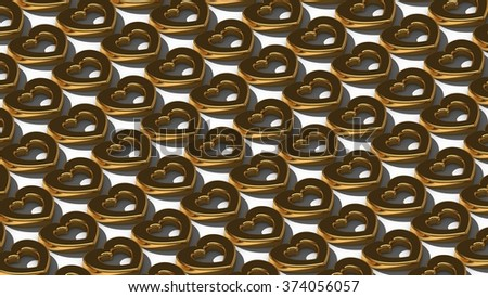 Isometric background with realistic golden hearts. Render.