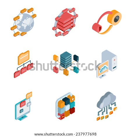 Isometric Big data analysis colorful icons on the white background - stock photo