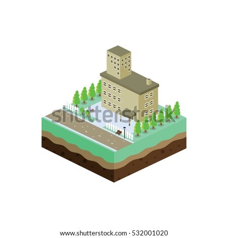 isometric block commercial residential building view cartoon