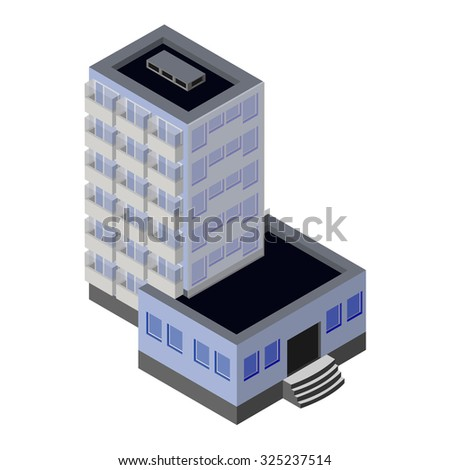Isometric building. Building for hotel, apartment, hospital, business center, office. Isometric apartment isolated on white. - stock photo