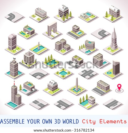 Isometric Building City Palace Private Real Estate. Public Buildings Collection Luxury Hotel Gardens. Isometric Tiles.3d Skyscraper Building Map Illustration Elements Set Business Game