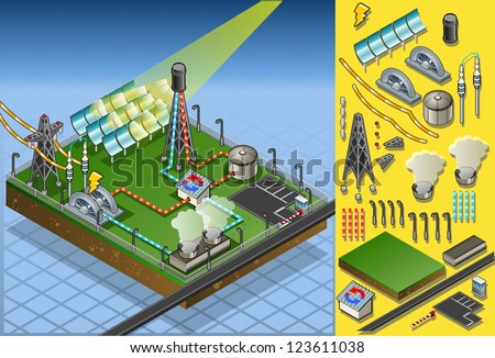 Isometric Building Concentrating Solar Power Systems CSP Plant Farms Isometric Electric Power Station Electricity Grid and Energy Supply Chain.Energy Harvesting and Saving Management Diagram 3d Image