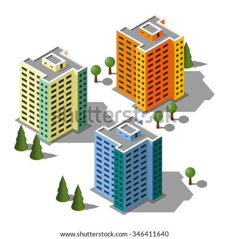 Isometric buildings illustration set. 3d buildings icon.