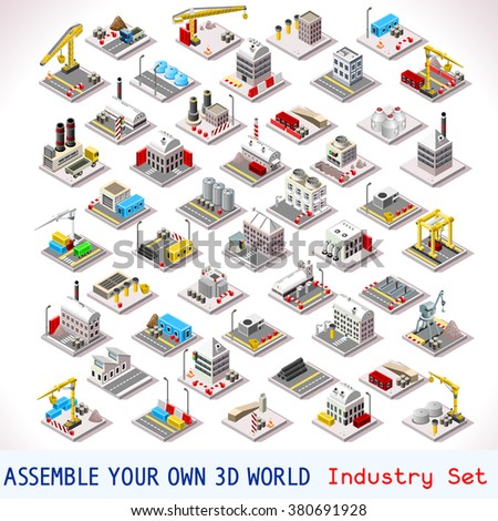 Isometric Buildings. Industrial Factory Set. Flat 3D Urban City Map Isolated Elements  Isometric Industrial Building Infographic Game Tiles Collection. Urban Farm Map Industry Image Business Set - stock photo