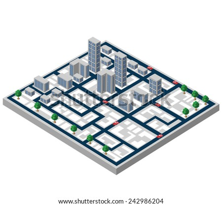 Isometric buildings on a city map on a white background - stock photo