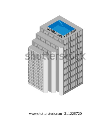 Isometric business center building with elevators and a rooftop pool. Isolated on white background.