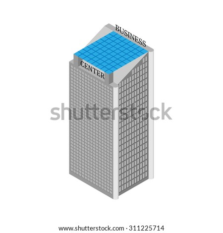 Isometric business center building with elevators and roof of solar panels. Isolated on white background.