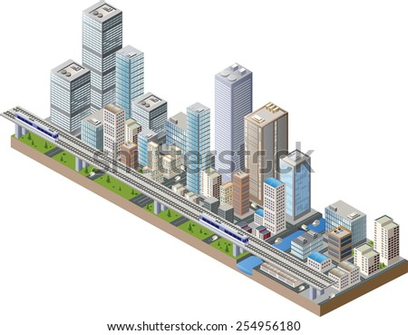 Isometric city center on the map with lots of buildings, skyscrapers, factories, and parks - stock photo