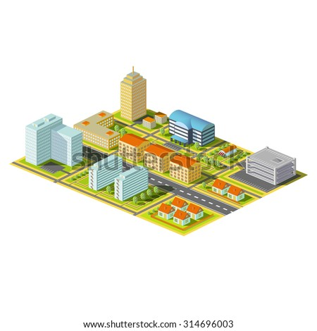 Isometric city. District with homes and offices. Stock Stock image.