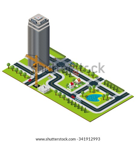 Isometric city map. Bank building in downtown. Yellow crane illustration. Isometric lake and houses in suburb.
