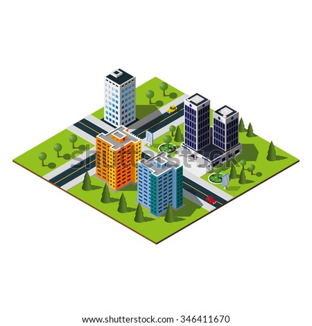 Isometric city map. Crossroads and road markings illustration. Hospital in downtown.