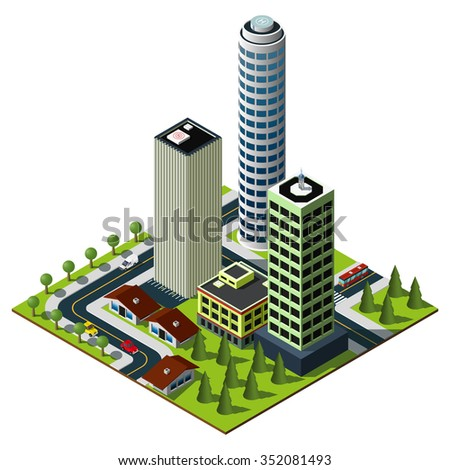 Isometric city map. Set of skyscrapers in downtown.