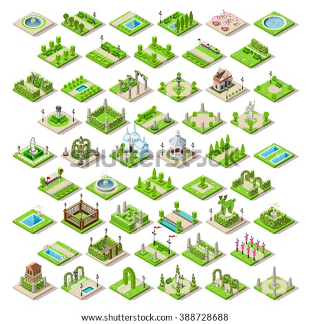 Isometric City Park Furniture. Roads Set Flat 3D City Map Elements Infographic. Path Game Tiles Collection Illustration. Gazebo Playground Rural Route through Spring Green Grass. Bucolic Landscape. - stock photo